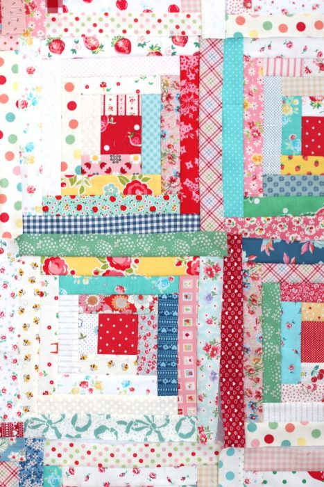 Vintage inspired Log cabin quilt blocks made by Diary of a Quilter
