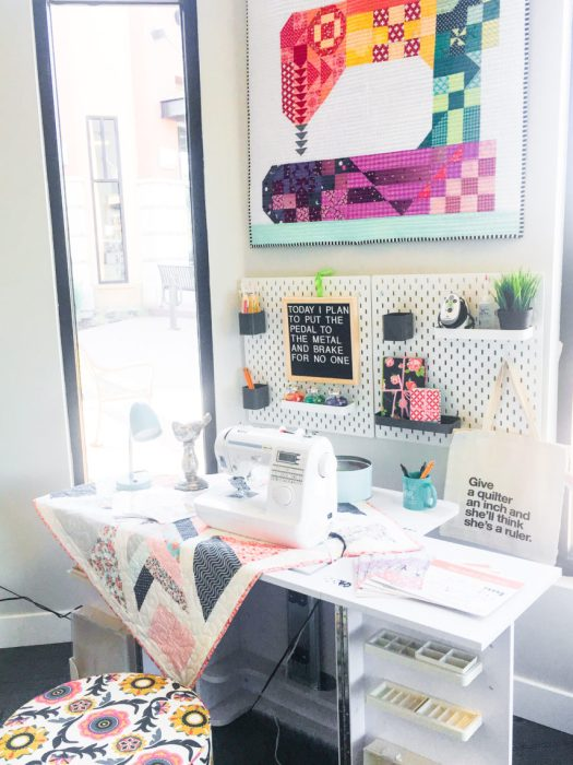 Shop Local - My Girlfriend's Quilt Shoppe + Giveaway by popular Utah quilting blog, Diary of a Quilter: image of a sewing machine table.