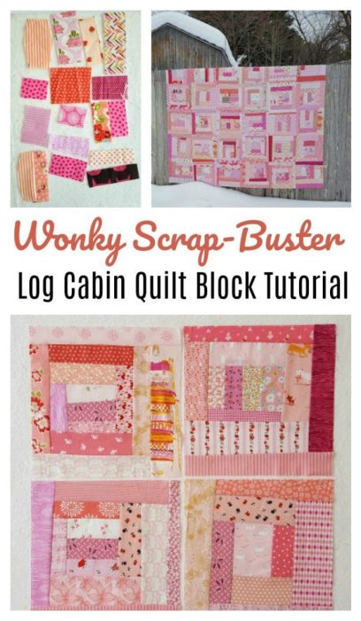 Use your fabric scraps to make a wonky log cabin quilt