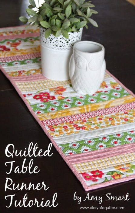 Easy Spring decor Quilted Table Runner Tutorial