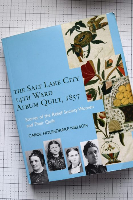 """The Tale of a Pioneer Quilt, Cut in Two by popular quilting blog, Diary of a Quilter: image of the book """"The Salt Lake City 14th Ward Album Quilt, 1857""""."""