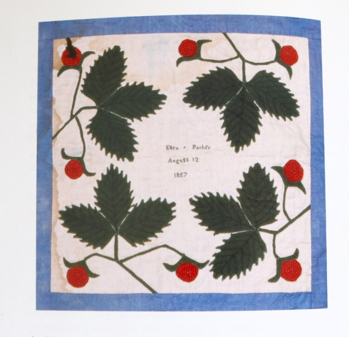 The Tale of a Pioneer Quilt, Cut in Two by popular quilting blog, Diary of a Quilter: image of an antique quilt block with hand stitched strawberries.