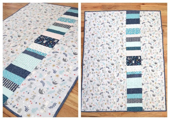 Bricks Baby Quilt Tutorial by popular quilting blog Diary of a Quilter: image of the backside of a bricks baby quilt displayed on a wooden floor.