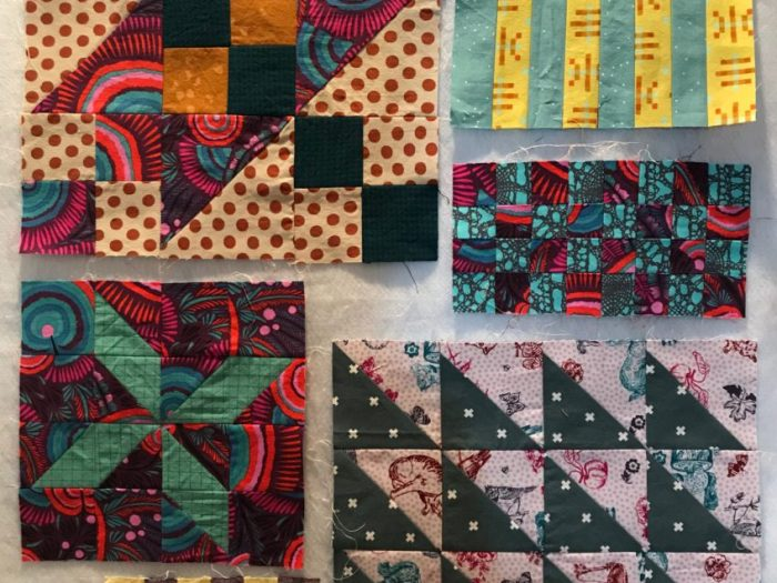 Inspiration from Modern Quilt Shop, Quilt Sandwich Fabrics by popular US quilting blog, Diary of a Quilter: image of various quilt blocks.