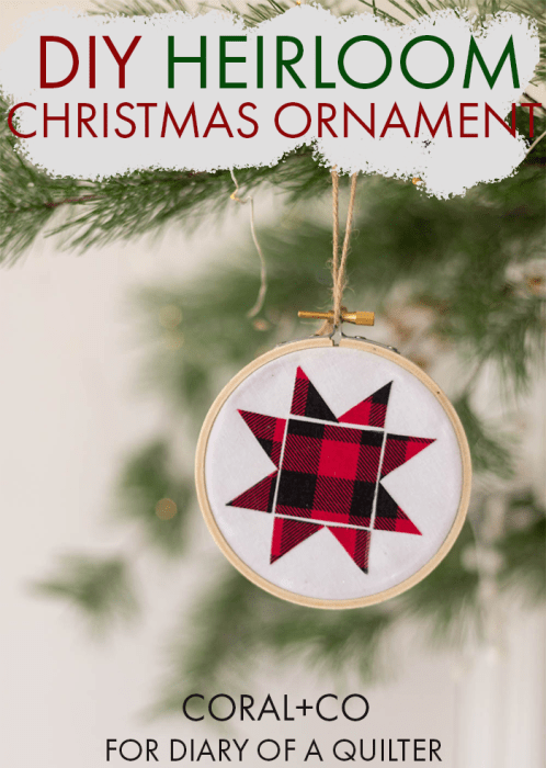 DIY Heirloom Christmas Ornament guest post by Coral + Co by popular Utah quilting blog, Diary of a Quilter: Pinterest image of a Coral + Co. DIY heirloom Christmas ornament hanging on a Christmas tree.