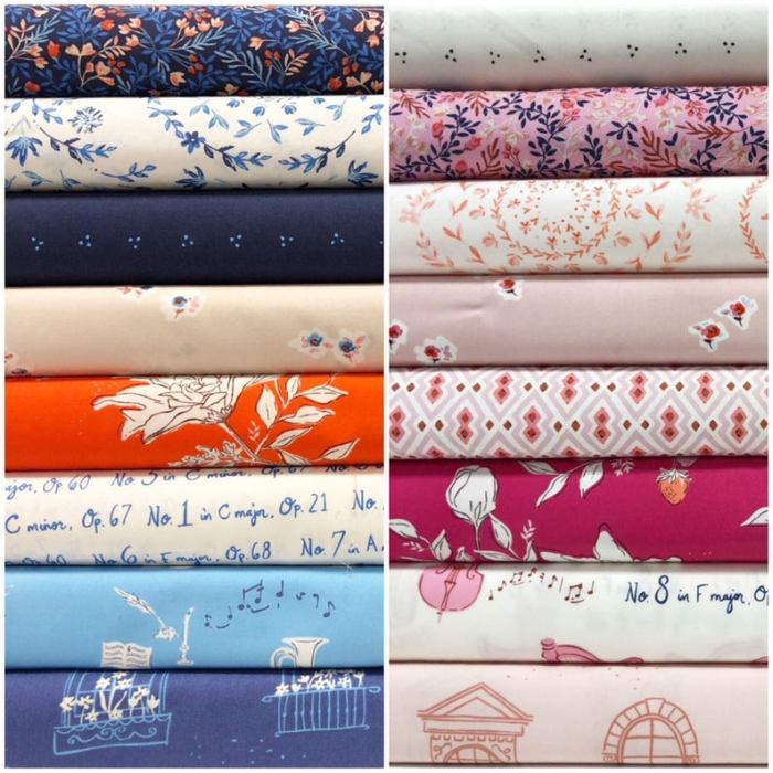 Inspiration from Modern Quilt Shop, Quilt Sandwich Fabrics by popular US quilting blog, Diary of a Quilter: image of Quilt Sandwich Fabric stacks.