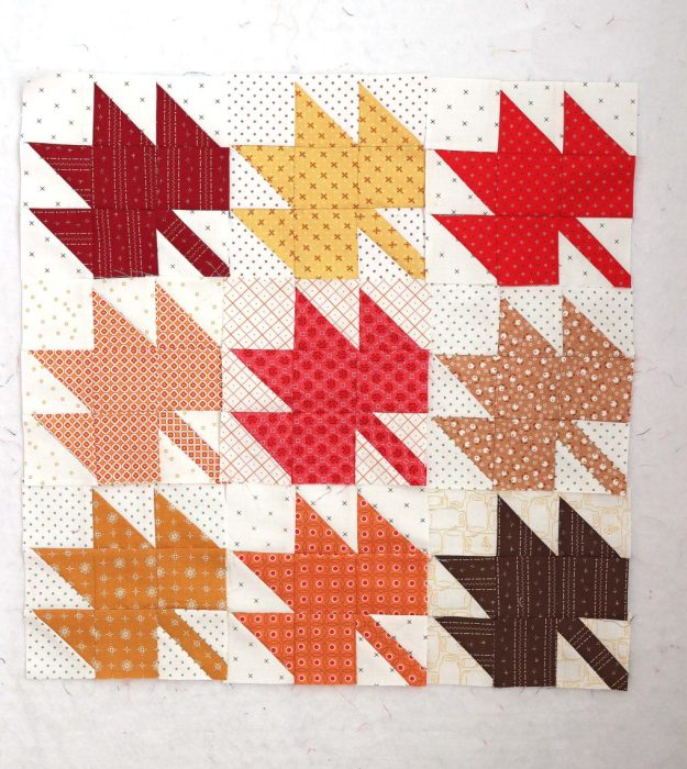 Classic Maple Leaf Quilt Block Tutorial by popular Utah quilting blog, Diary of a Quilter: image of the front side of a maple leaf block quilt.