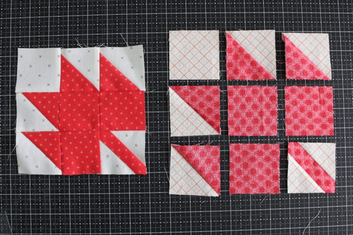 Classic Maple Leaf Quilt Block Tutorial by popular Utah quilting blog, Diary of a Quilter: image of maple leaf quilt block making process.