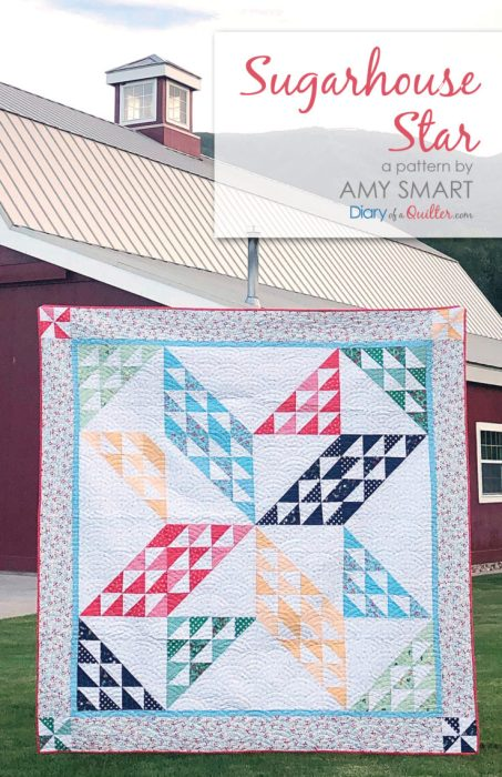 Brand new quilt pattern: Sugarhouse Star by popular Utah quilting blog, Diary of a quilter: image of a star quilt outside of a red barn.
