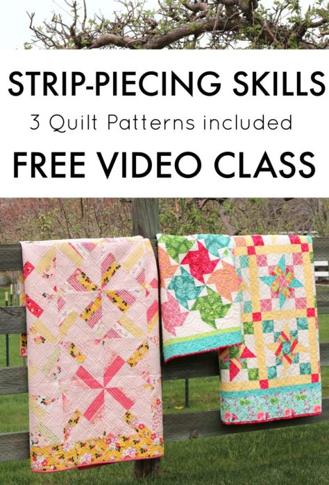 Video Class by Amy Smart for Riley Blake Designs teaching short-cut strip-piecing skills | Free Video Class: Strip Piecing Quilt Patterns by popular Utah quilting blog, Diary of a Quilter: image of three strip piecing quilts.
