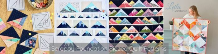 Scrappy Maple Leaf Quilt Pattern Tutorial by guest writer Leila Gardunia by popular quilting blog, Diary of a Quilter: image of scrappy foundation pieced quilt patterns by Leila Gardunia.