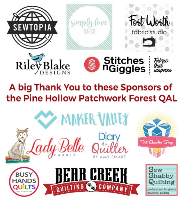 Pine Hollow Patchwork Forest Quilt Along Week 4 by popular Utah quilting blog, Diary of a Quilter: image of various sewing logos.