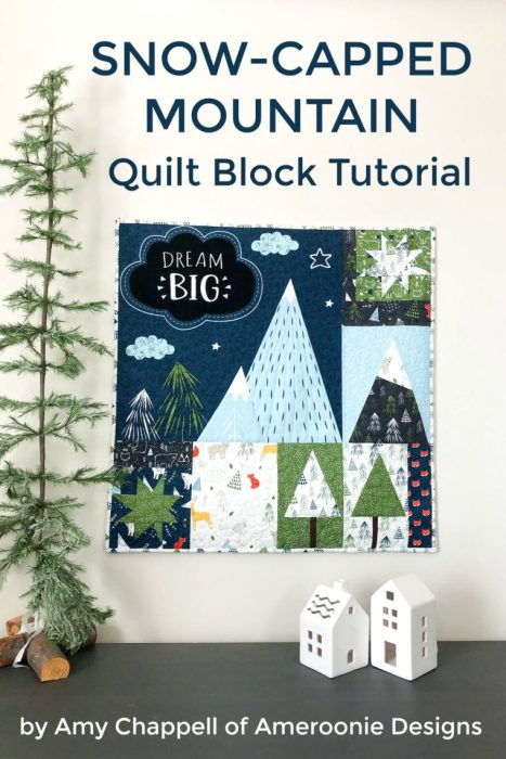 Snow-capped Mountain Quilt Block Tutorial by popular Utah quilting blog, Diary of a Quilter: image of a quilt with mountain quilt blocks.