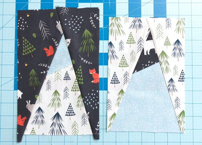 Snow-capped Mountain Quilt Block Tutorial by popular Utah quilting blog, Diary of a Quilter: image of fabric mountains.