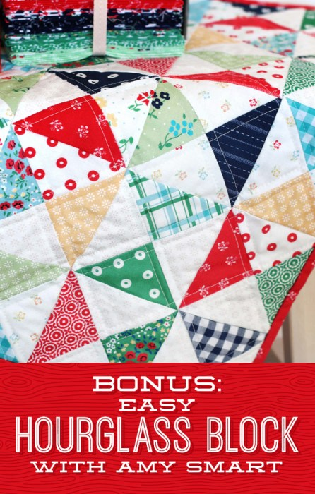Hourglass Quilt Block Shortcut Video Tutorial by popular Utah quilting blog, Diary of a Quilter: image of a quilt with the hourglass quilt block.