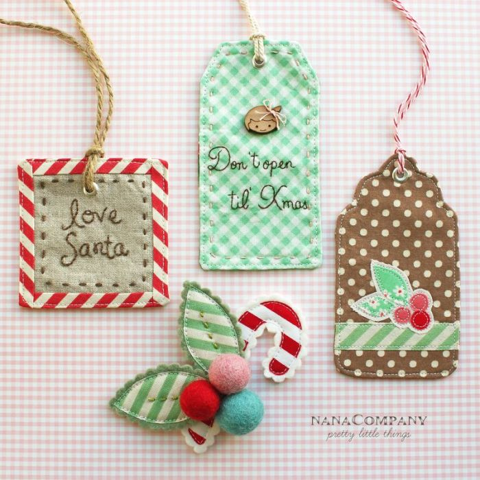 Handmade Christmas Ornament Ideas by popular Utah quilting blog, Diary of a Quilter: image of hand stitched gift tags.