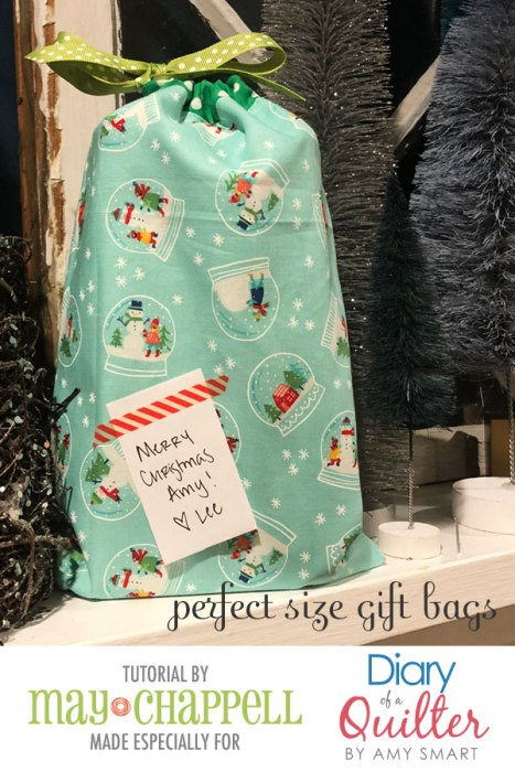 How to make a custom-sized fabric gift bag tutorial | Perfect Size Custom Gift Bags Tutorial by May Chappell by popular Utah sewing blog, Diary of a Quilter: image of a custom gift bag.