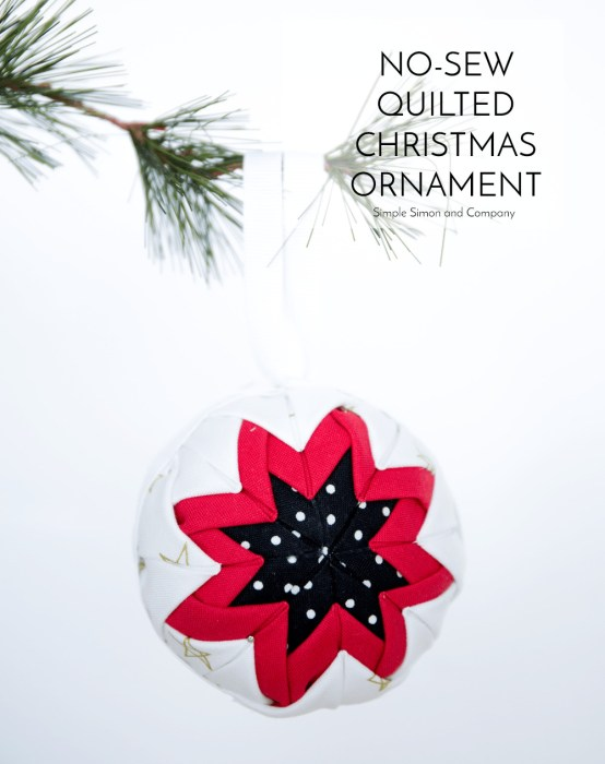 Handmade Christmas Ornament Ideas by popular Utah quilting blog, Diary of a Quilter: image of a fabric no-sew ornament.