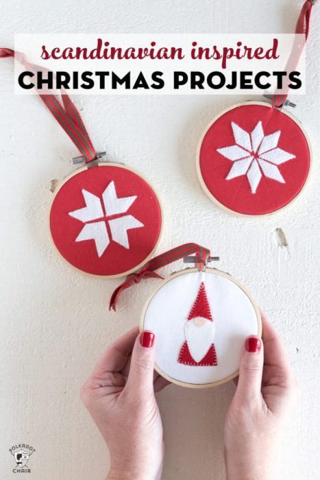 Handmade Christmas Ornament Ideas by popular Utah quilting blog, Diary of a Quilter: image of Scandinavian felt ornaments.