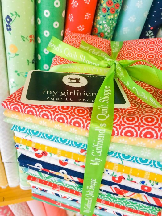 Shop Local - My Girlfriend's Quilt Shoppe + Giveaway by popular Utah quilting blog, Diary of a Quilter: image of a half yard bundle of My Girlfriend's Quilt Shoppe fabric.
