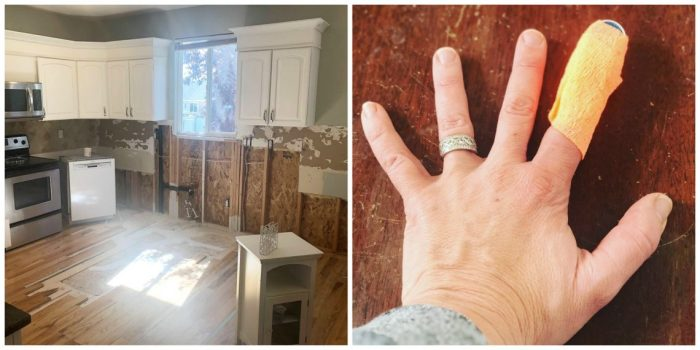 A Year in Review: Looking back at 2019 + Looking forward to 2020 by popular Utah quilting blog: image of a demoed kitchen and a woman wearing a finger splint.