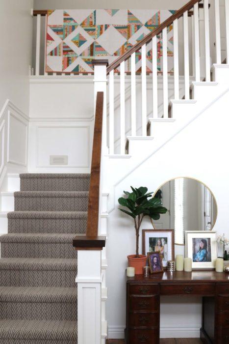 Craftsman-style Staircase update - white paint, herringbone carpet