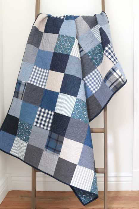 Baby Quilt Idea for a Boy - Denim and plaid patchwork