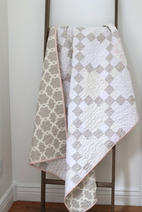 Modern Gray and White Baby Quilt