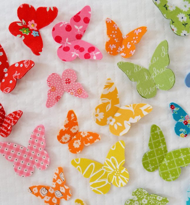 Use fabric scraps - 3D Butterfly wall art