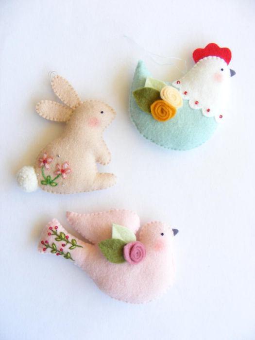 handmade Spring Easter felt ornaments
