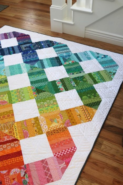 Scrap Happy spectrum quilt by Amy Smart
