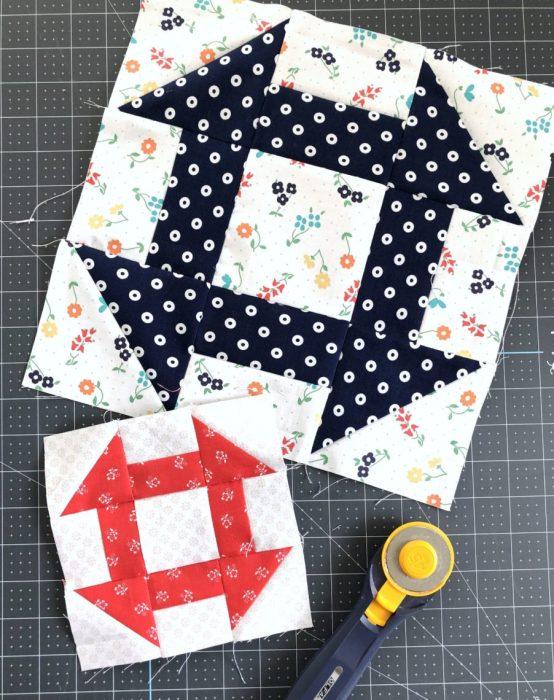 Churn Dash Quilt Block tutorial featuring Sugarhouse Park Fabrics