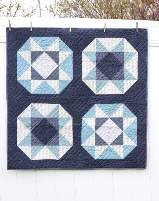 Blue and Gray Lucky Star Quilt - pattern by Andy Knowlton in Fresh Fat Quarter Quilt book - made by Amy Smart