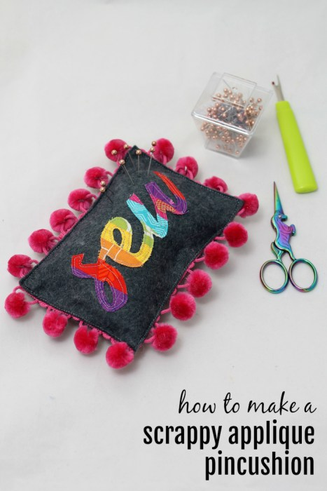 Scrappy Applique Pincushion Tutorial for Diary of a Quilter