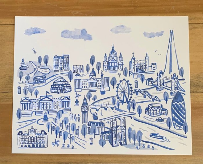 Blue and White London print by Laura Miller Studios