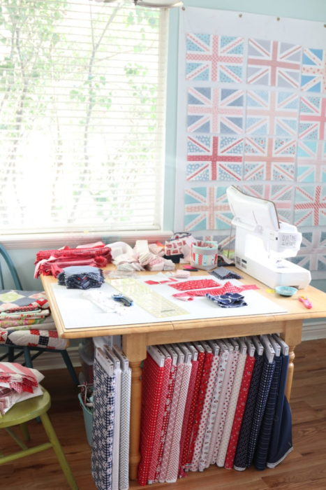 Red white and blue explosion in Amy Smart's Sewing Room + Baby Lock Crescendo Sewing Machine