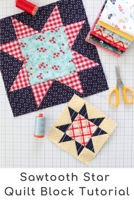 How to make a Sawtooth Star Quilt block in multiple sizes by Amy Smart - Diary of a Quilter