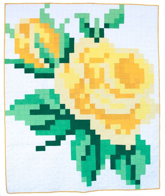 Ideas for Summer-themed Sewing Projects - Pixelated Rose quilt pattern from Trish Poolson for Riley Blake Designs