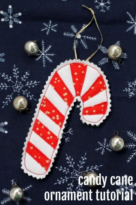 Simple DIY Candy Cane handmade Christmas Ornament