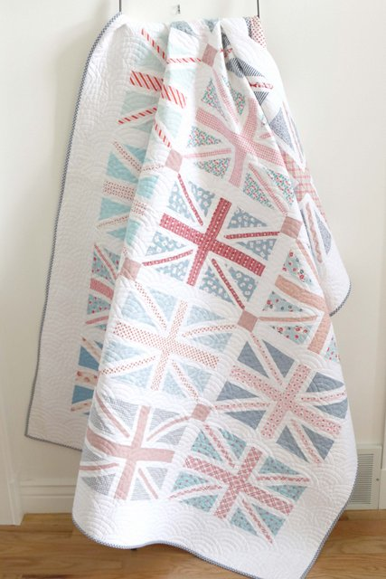 Low Volume Union Jack quilt pattern made by Amy Smart