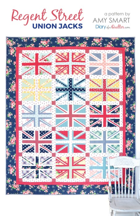 Regent Street - Union Jacks Quilt Pattern by Amy Smart featuring Notting Hill Fabric collection