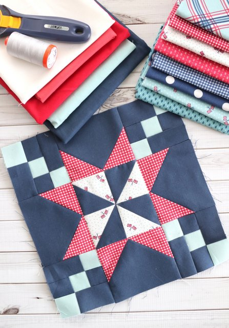 Red White and Blue Quilt block - part of the Riley Blake Quilt Block Challenge - a new free quilt block tutorial every week