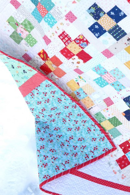 Scrap quilt pattern featuring Sugarhouse Park fabric by Amy Smart