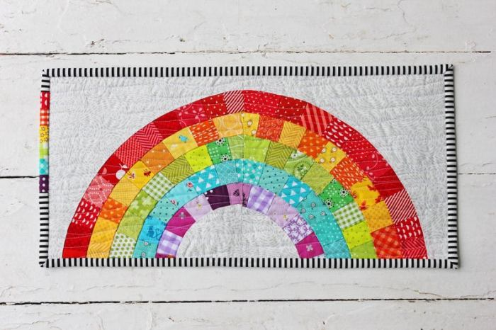 Scrappy pieced Rainbow Mini quilt by Center Street Designs