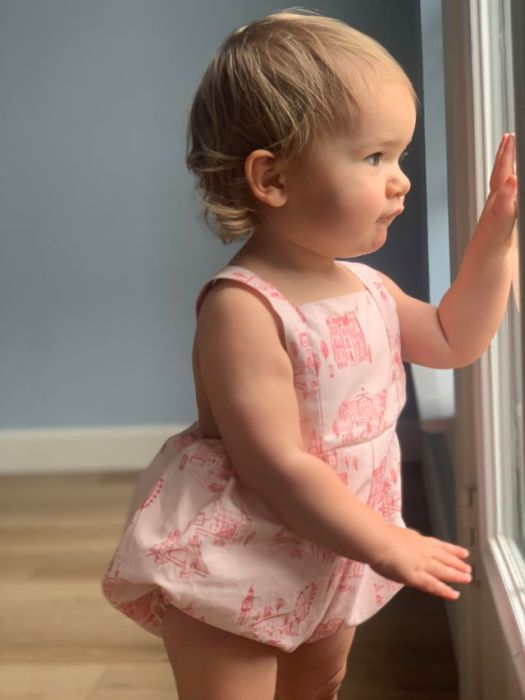 Child's Romper Simplicity 8143 - made with pink London toile print