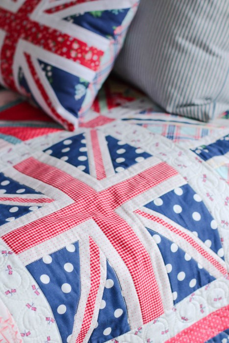 Washed out Union Jack Quilt - Red White and Blue - beachy version