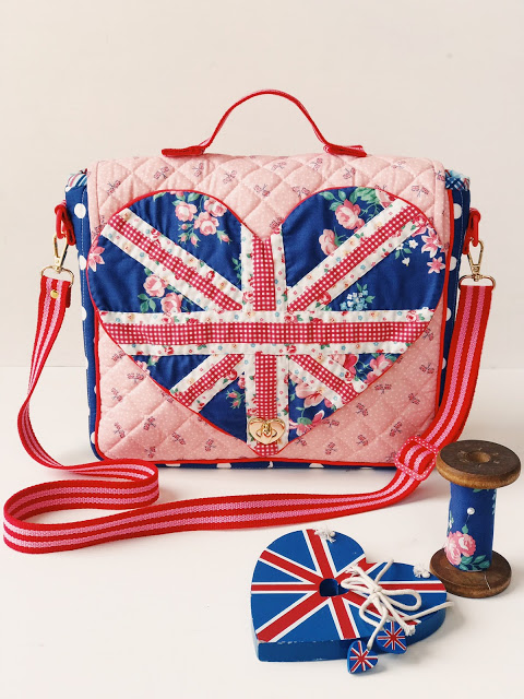 Union Jack Saddle Bag handmade by Cream Craft Goods featuring Notting Hill Fabric