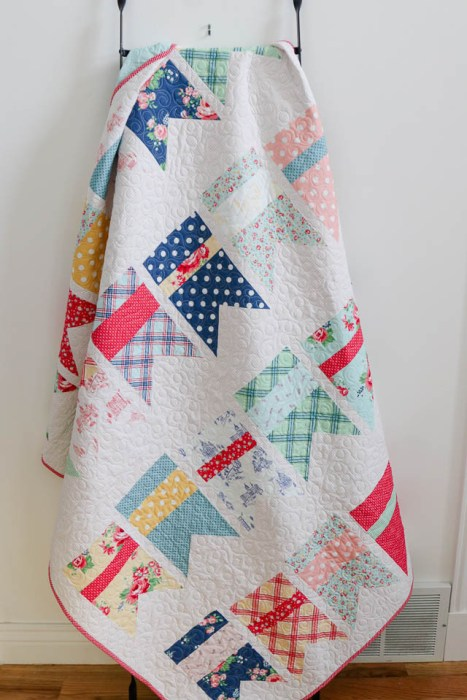 Summer Bunting Quilt pattern by Amy Smart made with Notting Hill fabric collection