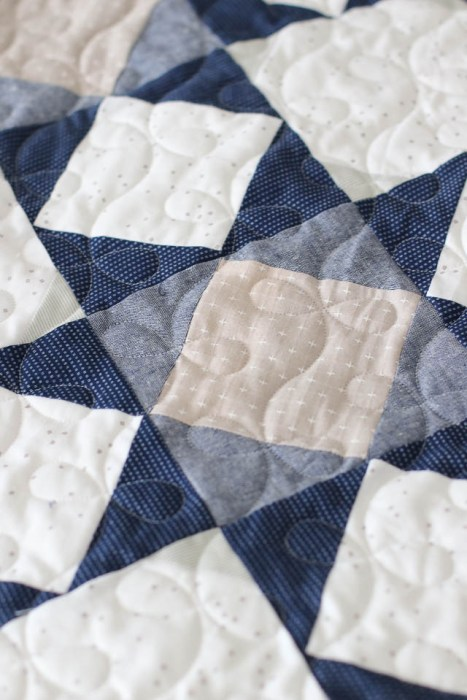 Close up fabric texture of Chambray quilt block with Blossoms backgroud