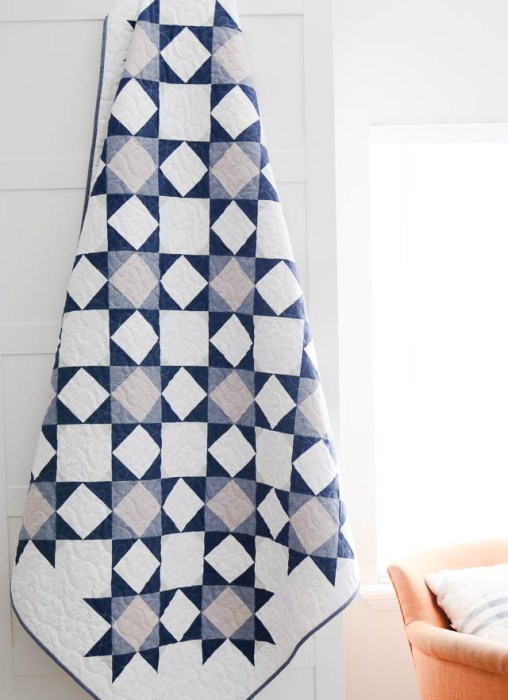 Palace Court Quilt pattern by Amy Smart in trendy blues and gray